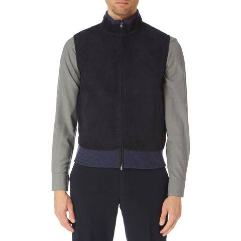 Hackett London Blue Mayfair Suede Front Jacket