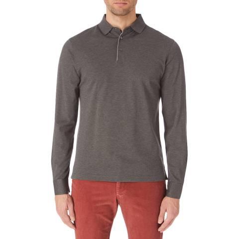 Hackett London Grey Classic Long Sleeve Polo Shirt