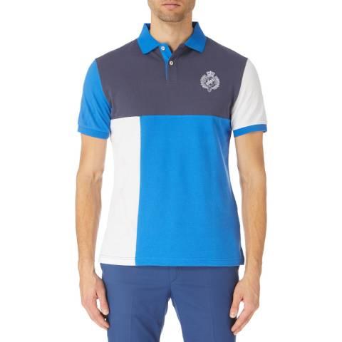 Hackett London Blue Multi Panel Polo Shirt
