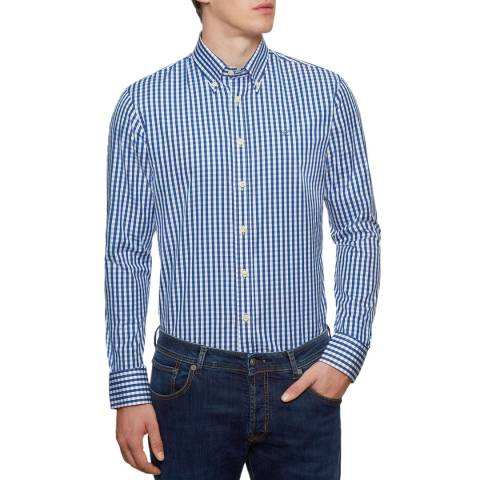 Hackett London Blue Check Classic Cotton Shirt