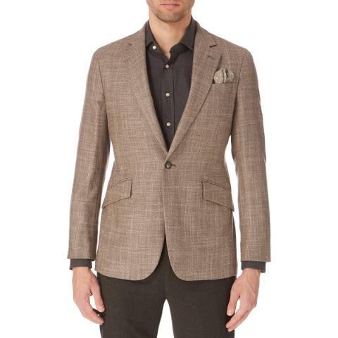 Hackett London Brown Mayfair Textured Wool Blend Blazer