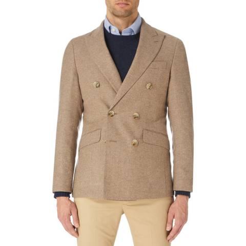 Hackett London Beige Shetland Twill Wool Blend Blazer