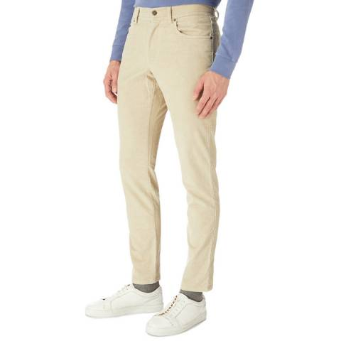 Hackett London Beige Cord Cotton Stretch Trousers