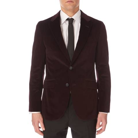 Hackett London Burgundy Shaved Velvet Blazer