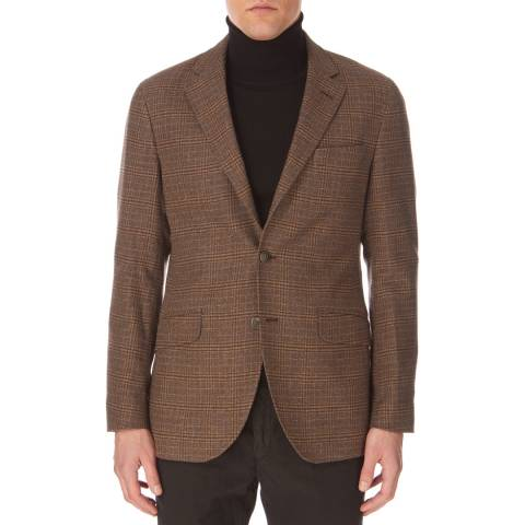 Hackett London Brown Checked Brushed Blazer