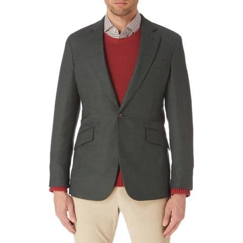 Hackett London Green Birdseye Wool Blend Blazer