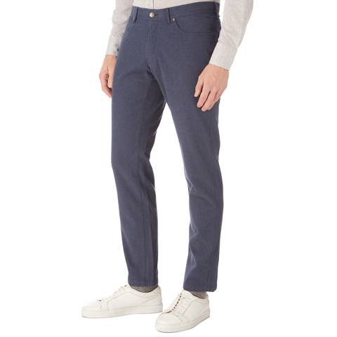 Hackett London Navy Cotton Flannel Cotton Stretch Trousers