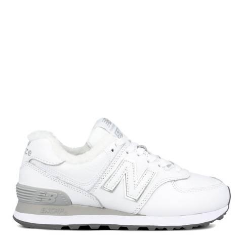 New Balance White 574 Borg Sneakers