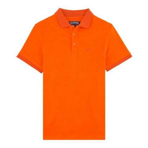 Vilebrequin Light Orange Cotton Blend Polo Shirt
