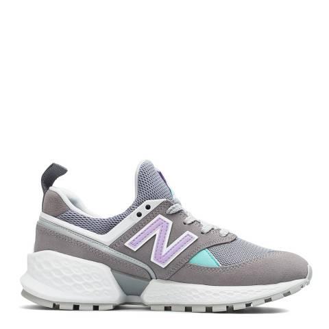 New Balance Grey & Purple 574 Sport Sneakers