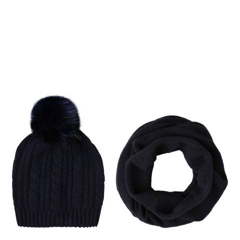 Laycuna London Navy Cashmere Snood and Bobble Hat Set