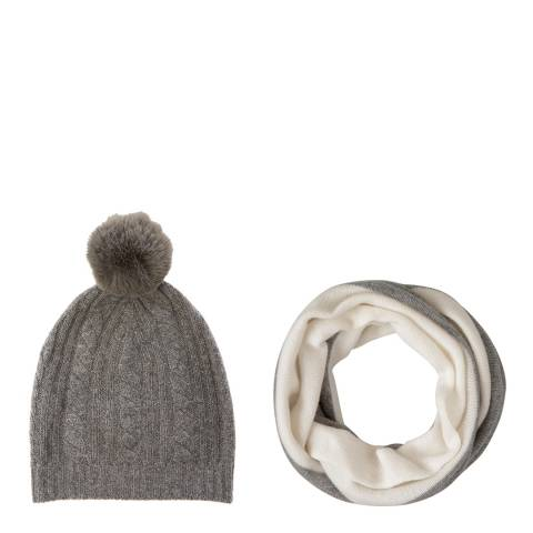 Laycuna London Grey Cashmere Snood and Bobble Hat Set