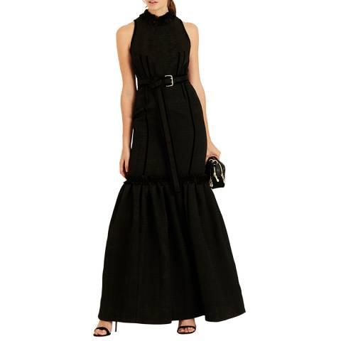 Amanda Wakeley Black Jacquard Long Dress