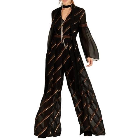 Amanda Wakeley Black Metallic Chiffon Stripe Jumpsuit