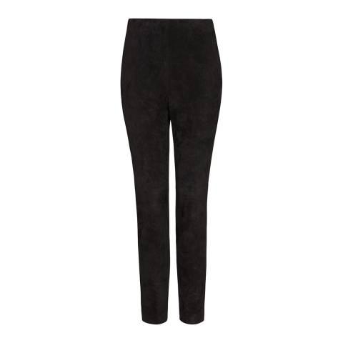 Amanda Wakeley Black Suede Stretch Trousers