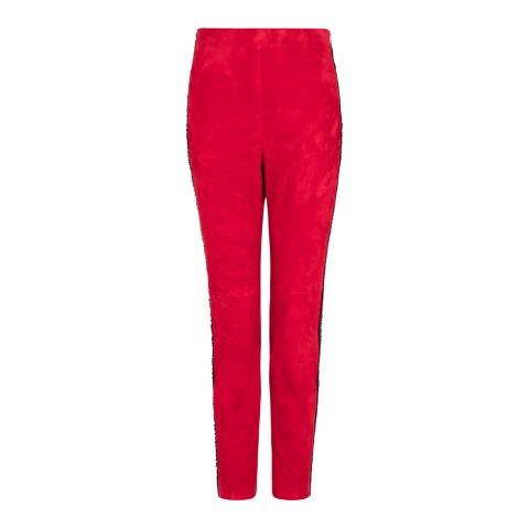 Amanda Wakeley Red Suede Stretch Trousers