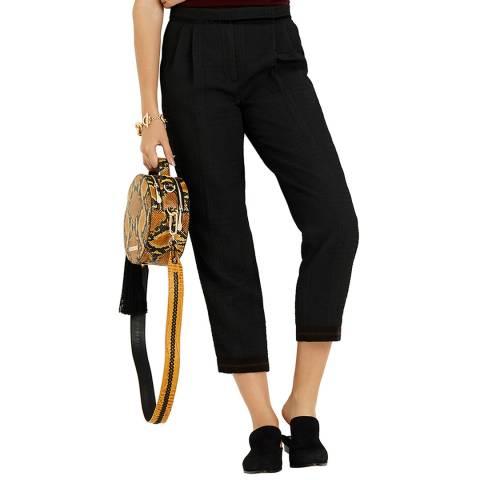 Amanda Wakeley Black Jaquard Pleat Trousers