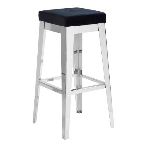 Fifty Five South Horizon Bar Stool, Silver Finish Stainless Steel, Black Cushion
