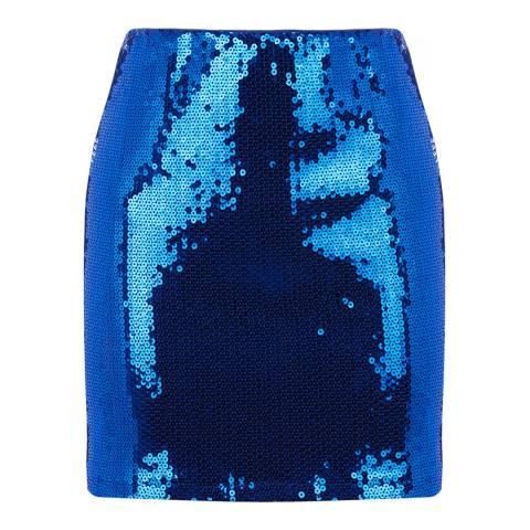 Warehouse Bright Blue Sequin Mini Skirt