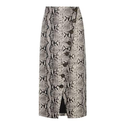 Warehouse Snake Effect Faux Leather Midi Snake Skirt