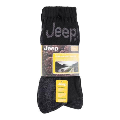 Jeep Black Mens 3 Pair Jeep Luxury Terrain Boot Sock