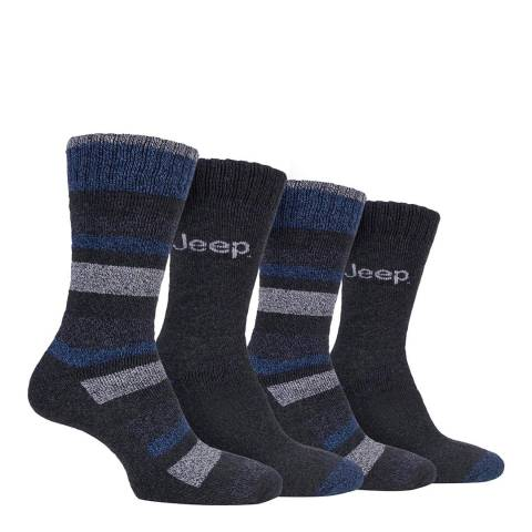 Jeep Charcoal Mens 4 Pair Jeep Performance Boot Sock