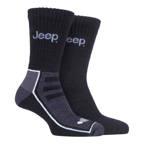 Jeep Black/Charcoal Mens 2 Pair Jeep Bamboo Boot Sock