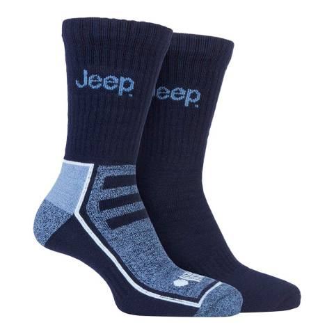 Jeep Navy/Blue Mens 2 Pair Jeep Bamboo Boot Sock