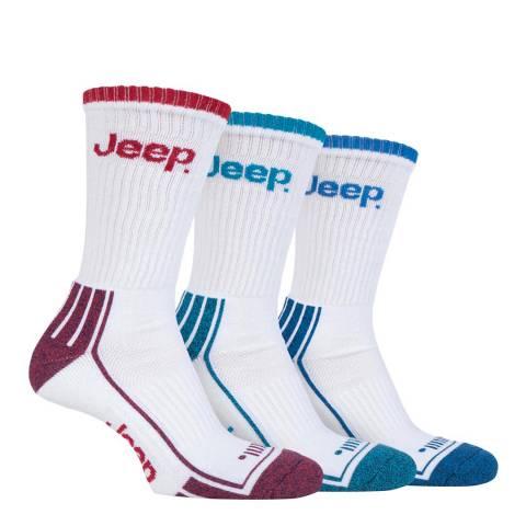 Jeep White Mens 3 Pair Jeep Crew Sport Socks