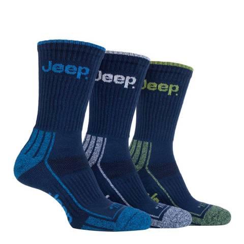 Jeep Navy Mens 3 Pair Jeep Crew Sport Socks