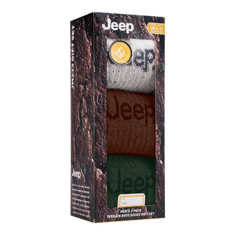 Jeep Multi Mens 3 Pair Jeep Lux Terrain Boot Sock Gift