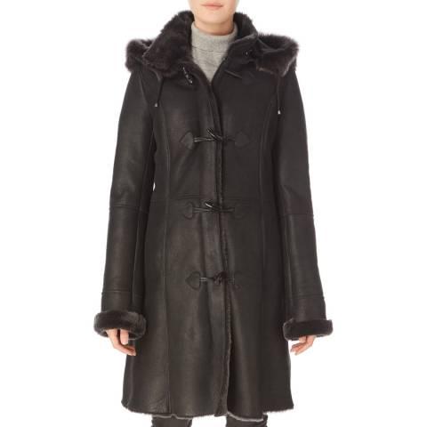 Shearling Boutique Black Hooded Ladies Sheepskin Duffle Coat