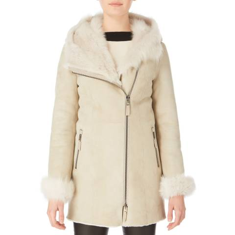 Shearling Boutique Off White Hooded Shearling Jacket