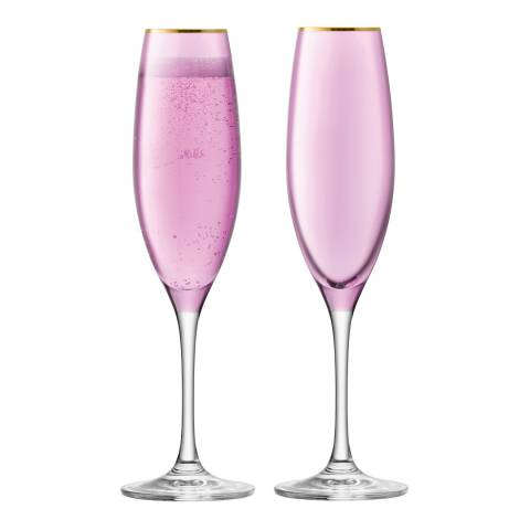 LSA Set of 2 Rose Sorbet Champagne Flutes, 225ml