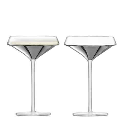 LSA Set of 2 Platinum Space Champagne Glasses, 240ml