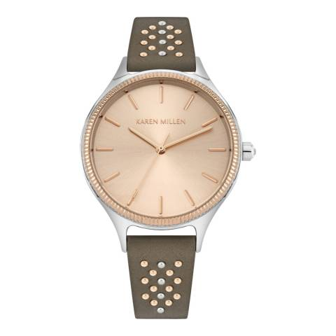 Karen Millen Grey Leather Strap Watch 38mm