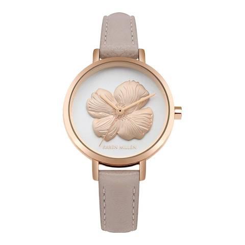 Karen Millen Grey Rose Gold Flower Face Watch