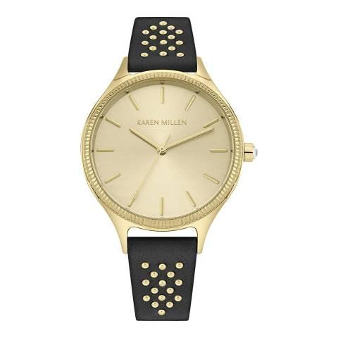 Karen Millen Black Leather Strap Watch 38mm