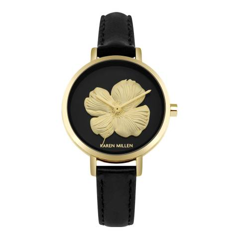 Karen Millen Black Gold Flower Face Watch