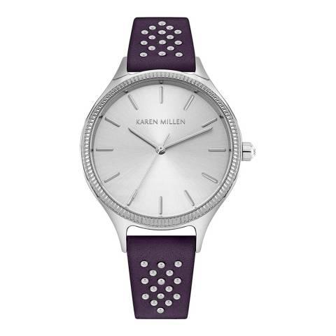 Karen Millen Plum Leather Strap Watch