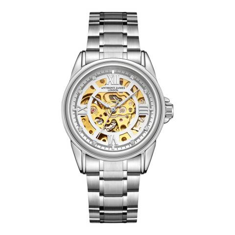 Anthony James Men's Silver Automatic Watch