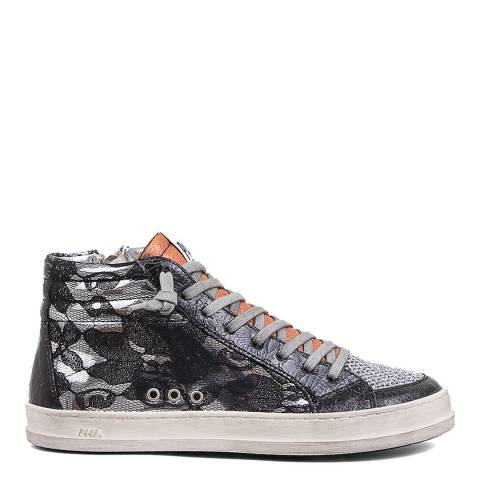 P448 Black Floral Lace Skate Sneakers