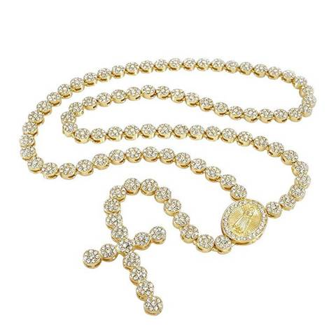 Stephen Oliver 18K Gold Plated Pave Cross Rosary Necklace