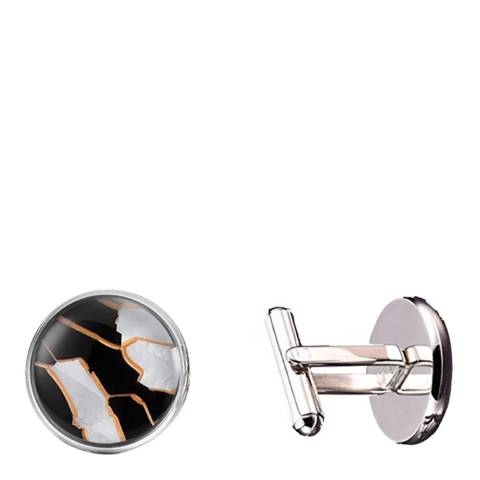 Stephen Oliver Silver Multi Mother Of Pearl Black & White Cufflinks