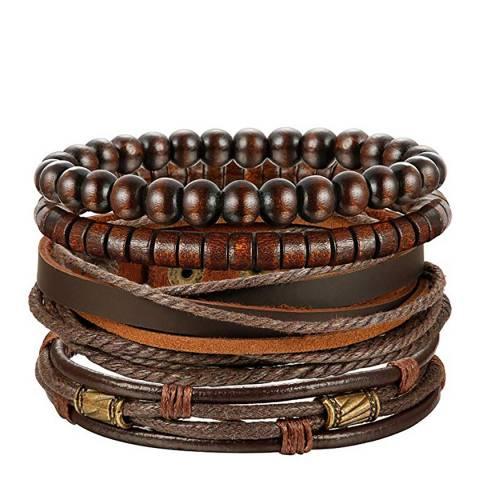 Stephen Oliver Brown Leather Woven Bracelet Set