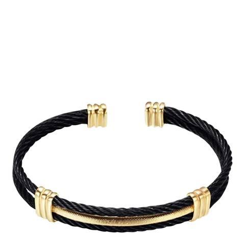 Stephen Oliver 18K Gold & Black Cable Cuff Bangle