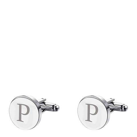 """Stephen Oliver Silver Initial """"P"""" Cufflinks"""