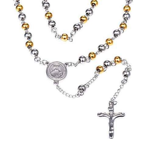 Stephen Oliver 18K Gold & Silver Religious Rosary
