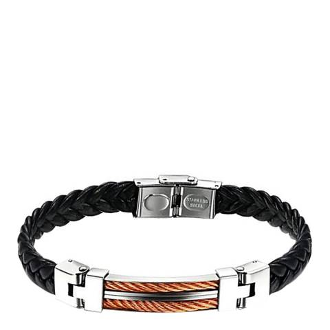 Stephen Oliver 18K Rose Gold Plated Black Leather & Silver Plated Two Tone Bracelet