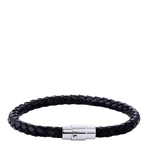 Stephen Oliver Silver / Black Leather Woven Bracelet
